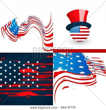 vector set of american flag abstract background  with hat and wave