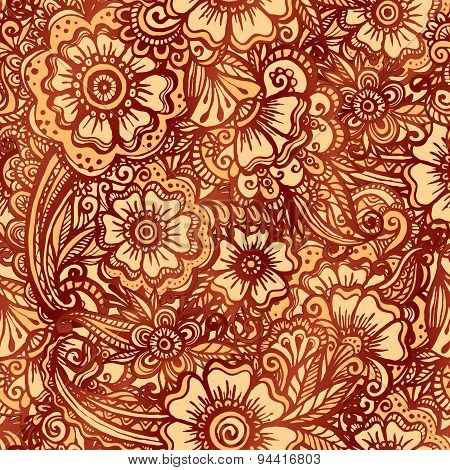 Hand-drawn floral seamless pattern in Indian mehndi style