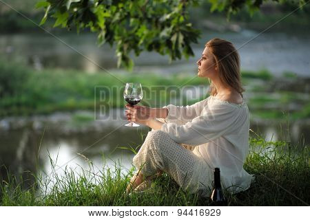 Alluring Lady In Sunset Near River