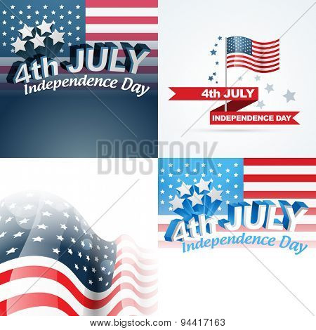 vector set of abstract background of 4th july american independence day