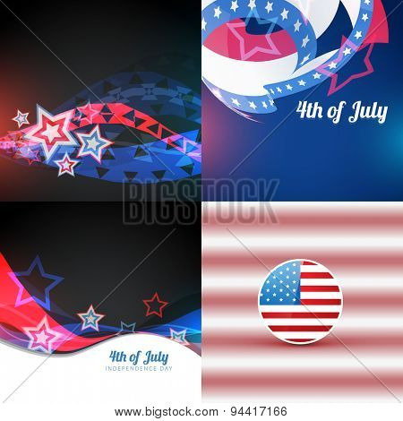 vector collection 4th of july american independence day background with abstract illustration