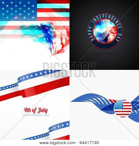 set of vector american flag abstract background with creative illustration
