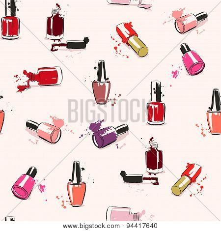 Vector Seamless Pattern With Nail Polish