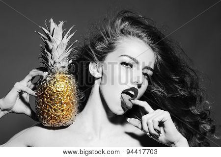Sexual Young Girl With Golden Pineapple