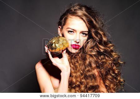 Charming Young Girl With Golden Bread Roll