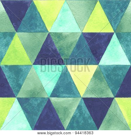 Watercolor triangular seamless pattern