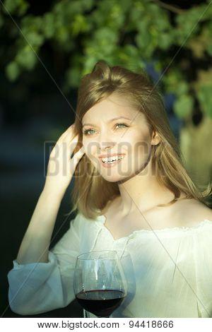 Pretty Woman With Wine Glass