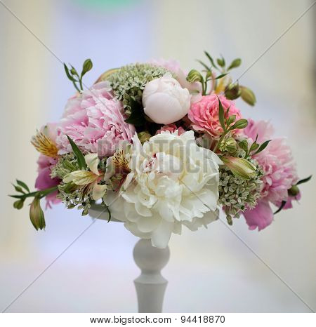 Decorative Bouquet Of Soft Peonies