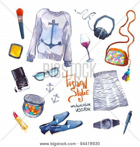 Set of trendy look. Watercolor clothes