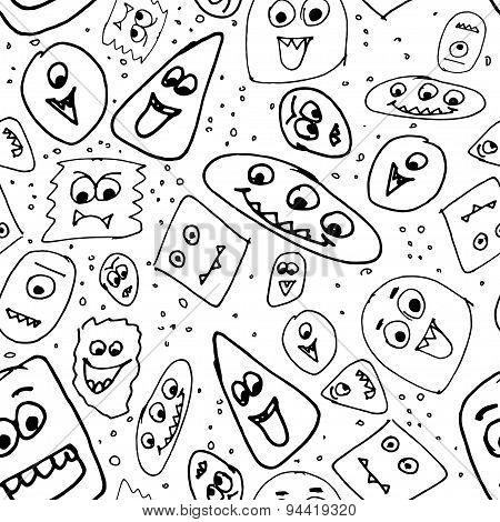 Hand Drawn Funny Monsters. Seamless Vector Background