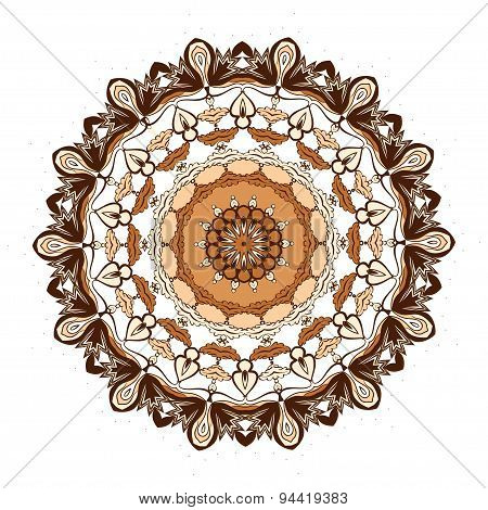 Abstract Design Element. Round Mandala In Vector. Graphic Template For Your Design.