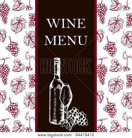 Wine Menu. Retro Card Or Flyer. Restaurant Theme. Vector Illustration.