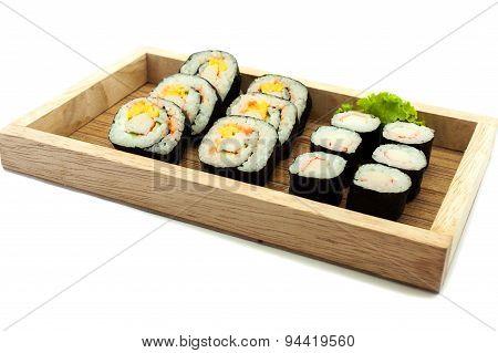 Sushi Set In A Kitchen Board