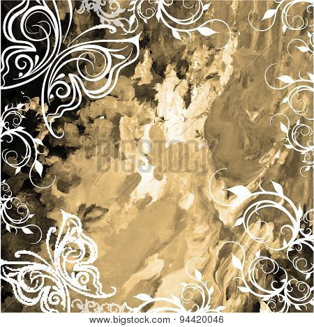 Old Canvas With Paint Sepia With Floral Pattern