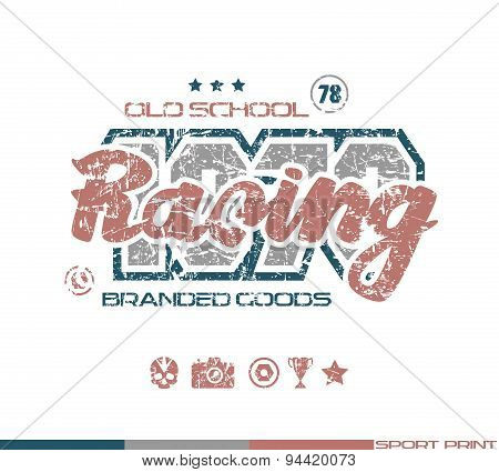 Racing Emblem In Retro Style