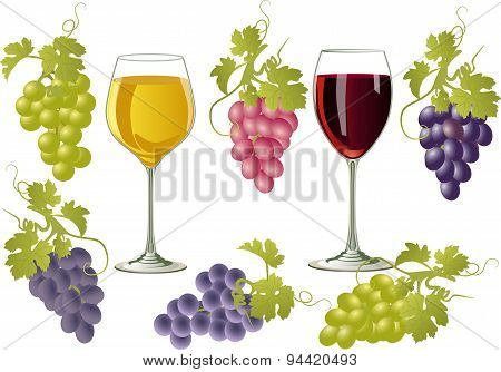 Vector Illustration Of Glasses Of Wine And Bunches Of Grapes.