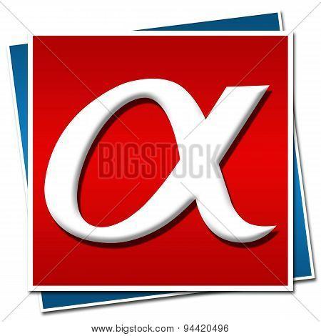 Alpha Symbol Red Blue Square