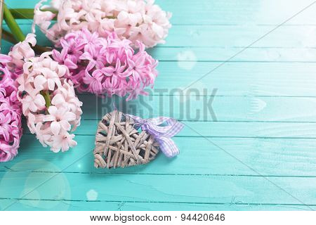 Background With Fresh Flowers Hyacynths And Decorative Heart