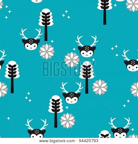 Seamless christmas reindeer cute kids animal black white and blue winter wonderland woodland illustration background pattern in vector