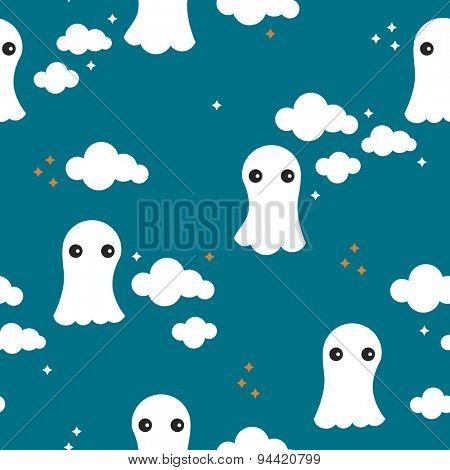 Seamless adorable little ghost kids halloween theme spooky clouds dreams illustration background pattern in vector