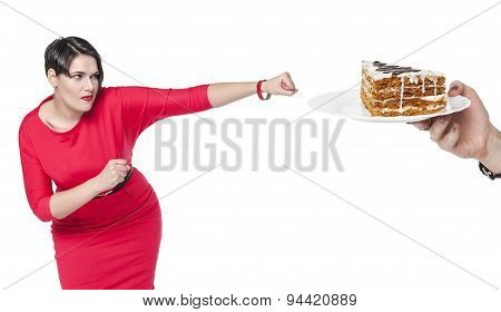 Beautiful Plus Size Woman In Red Dress Beating Cake