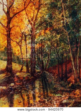 Landscape Oil Painting With River In Autumn Forest. Vintage Structure Background.