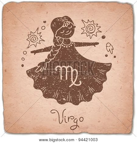 Virgo zodiac sign horoscope vintage card.