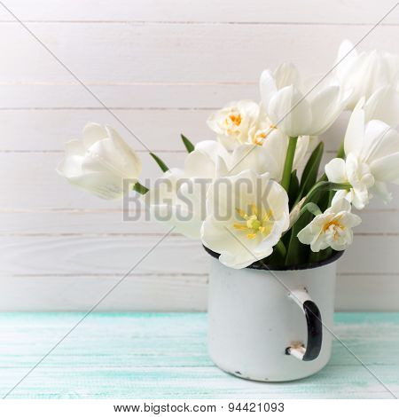 Background With  White Tulips