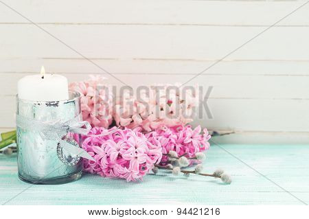 Background With Fresh Flowers Hyacinths And Candle