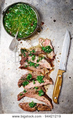 Flank Steak  With Chimichurri Sauce.