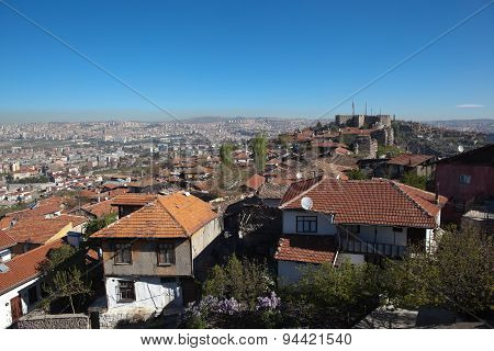 Panorama Ankara and Ak-Kala fortress on the hill Hissar. Turkey.