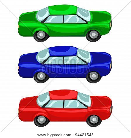 Cars red green blue