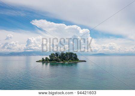 Mouse Island Pontikonissi in Corfu Greece.