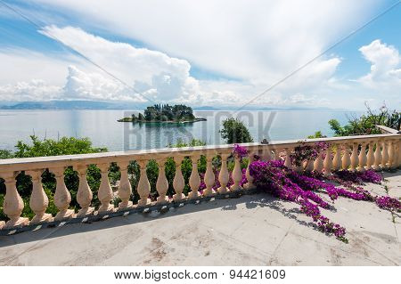 View waterfront with bougainvillea flowers