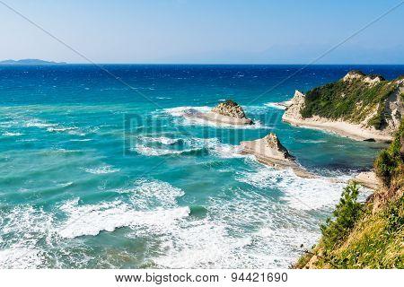 white rocks in the sea, Cape Drastis, Corfu