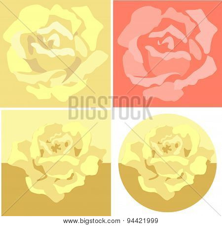 Vector Set Of Yellow And Red Roses.