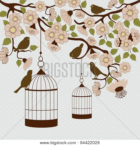 Floral Branch With Birds And Birdcage