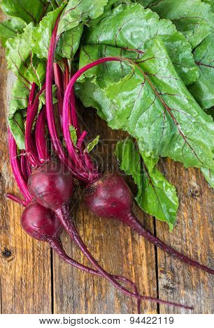 Fresh organic beets with water droplets