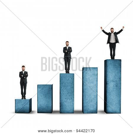 sad, smiley and happy men standing on graph made from concrete. isolated on white background
