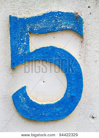 Blue Number 5 From Traffic Road Sign In Thailand