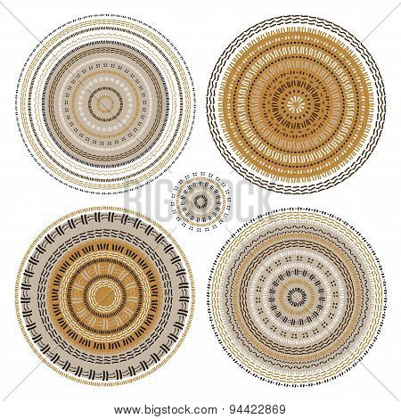 Hand drawn Circular pattern. Mandala set.