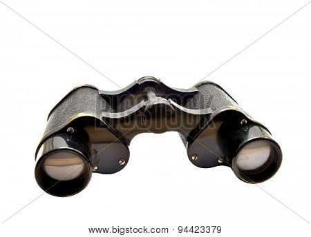 Old binoculars on a white background.