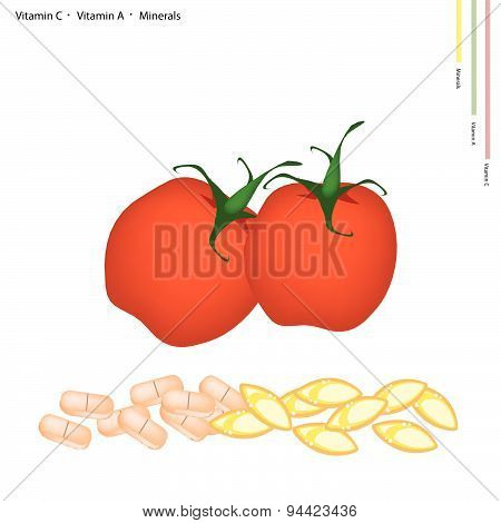 Red Tomatoes With Vitamin C And Vitamin A