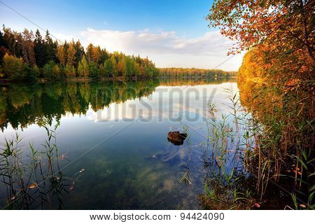 autumnal lake near the forest in sunset light