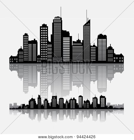 Big cities skyline buidlings with reflection