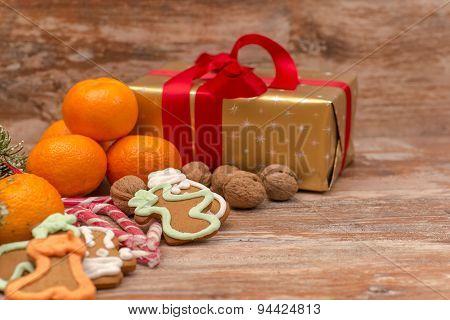 Mandarines, gift box and sweeties