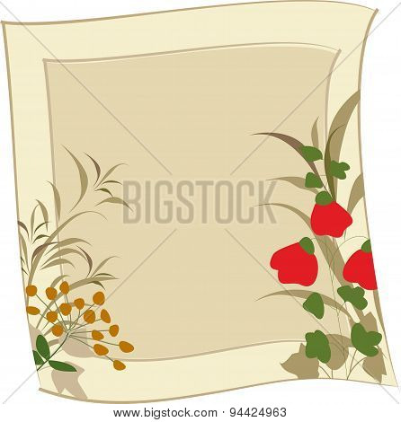 Wild Flowers On A Background With Sepia Framed.