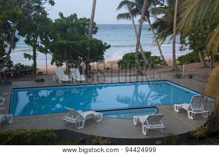 A Swimming Pool at a Beach Resort in Sri Lanka