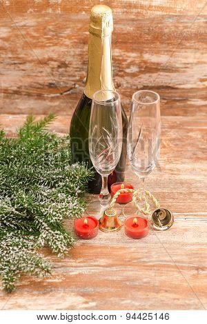 champagne glasses ready to bring in  New Year
