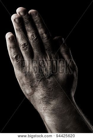Male Hands. Prayer